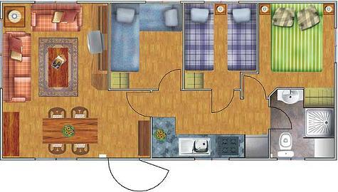 Casa prefabricada de 3 dormitorios y 40 metros cuadrados - Banos de 2 metros cuadrados ...