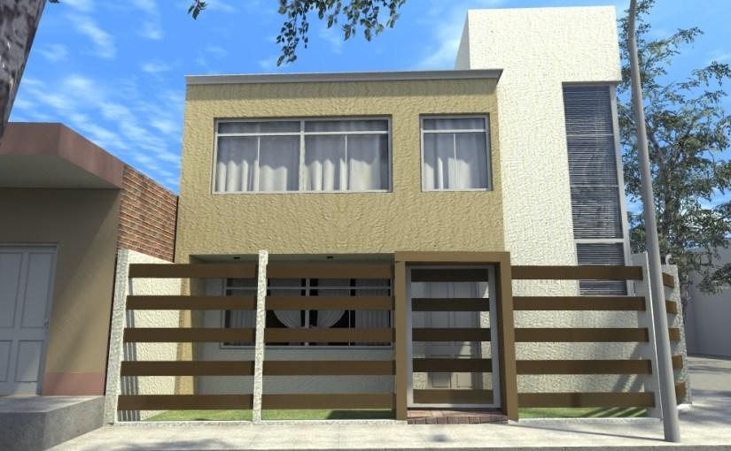 Casa de dos pisos y tres dormitorios con terraza