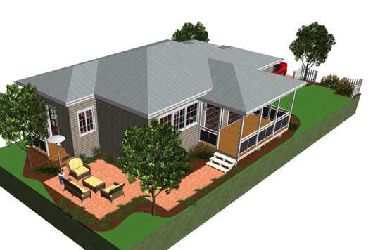Pequeña casa de madera de 77 metros cuadrados