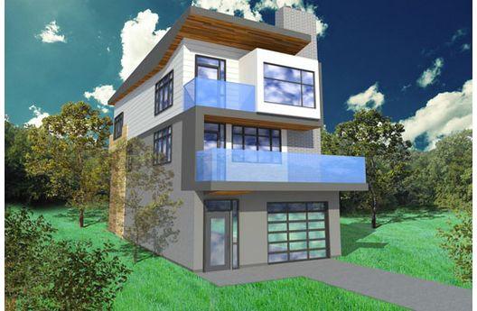 Casa de tres plantas dos dormitorios y 237 metros cuadrados, ideal para terrenos angostos