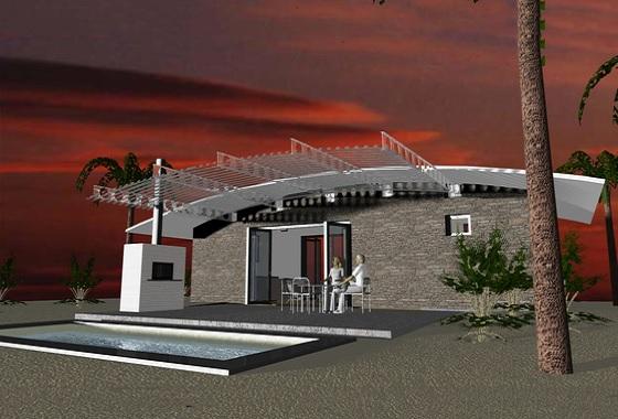 Monoambiente vacacional de 42 metros cuadrados planos de - Casas para fines de semana ...