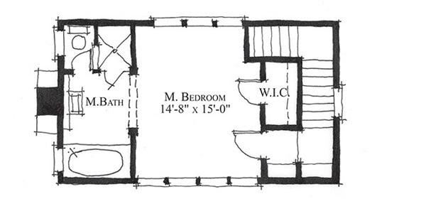 plano planta alta casa de campo