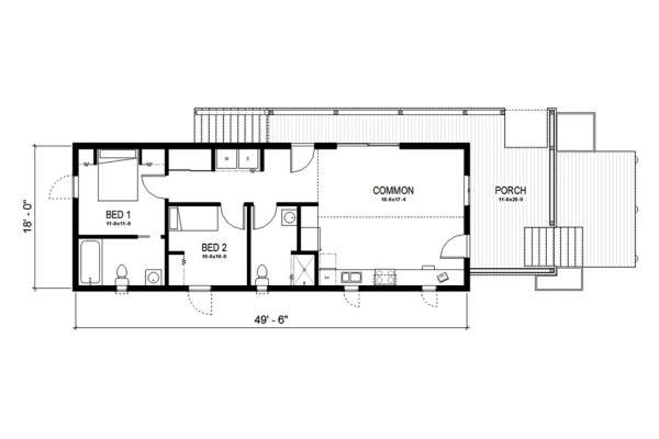 Plano de casa de madera de una planta y dos dormitorios