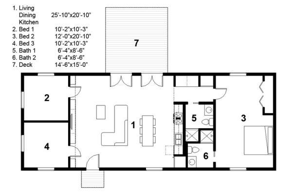 plano de casa minimalista de 119 metros cuadrados y 3