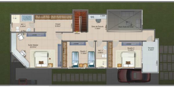 plano planta alta casa de dos pisos y tres dormitorios