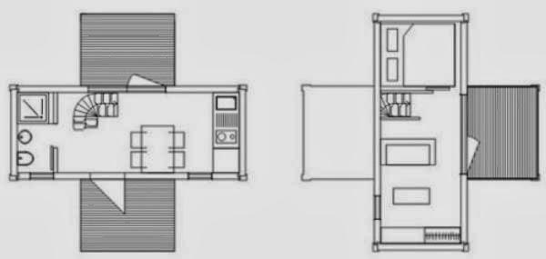 Plano de casa de 2 dormitorios con dos containers de 20 pies