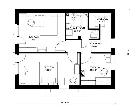 Plano planta alta Casa de dos plantas y tres dormitorios