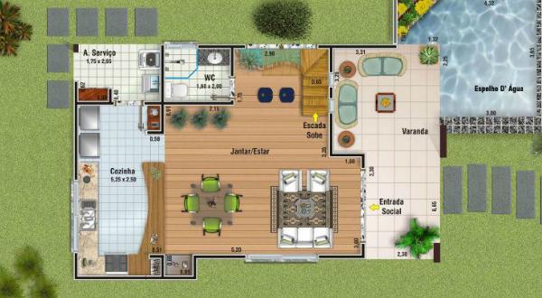 Plano de casa moderna de dos plantas tres dormitorios y for Plano casa 2 plantas