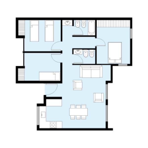 plano de casa procrear maderera de 3 dormitorios y 81