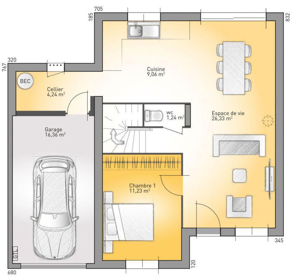 Baño Debajo Escalera Diseno:Plano de casa francesa de 4 dormitorios y 130 metros cuadrados en dos