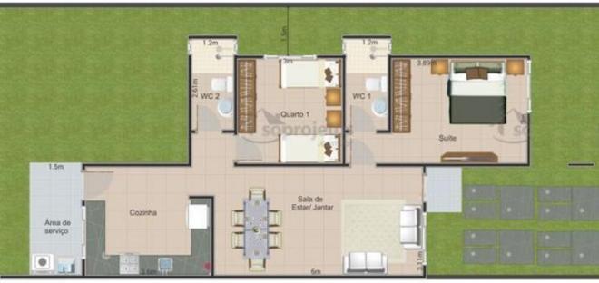 Plano casa moderna de 72 metros cuadrados