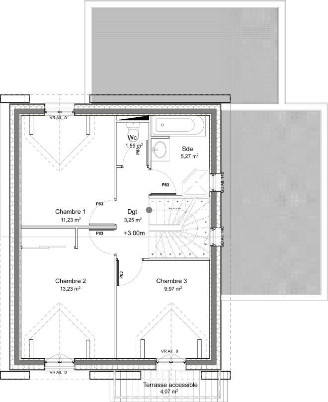 Plano planta alta casa de 4 dormitorios y 109 metros cuadrados