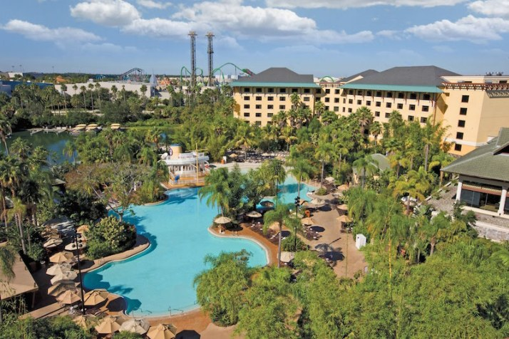 Royal Pacific pool with Universal Studios Florida in the background