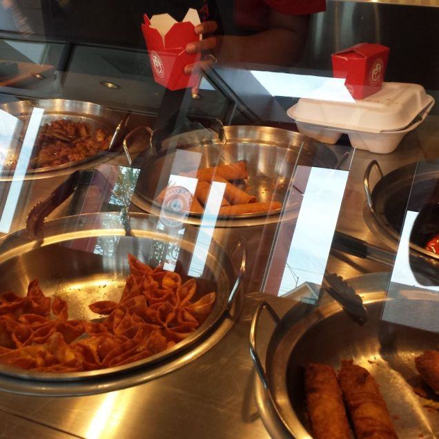 A buffet line, just like the mall only rounder