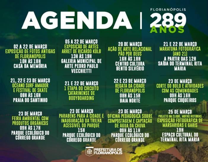 Programação do 289º aniversário de Florianópolis