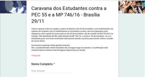 Caravana dos Estudantes contra a PEC 55 e a MP 746/16 – Brasília 29/11