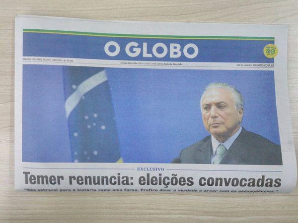 Edição falsa de O Globo circula por São Paulo e anuncia renúncia de Temer