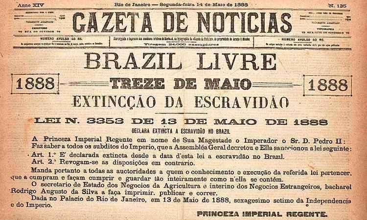 Manchete de jornal no dia seguinte à declaração do fim da escravidão no Brasil em 13 de maio de 1888. (foto: Internet)