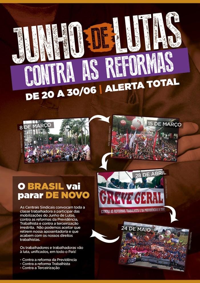 Movimento sindical de Jaraguá do Sul realiza panfletagem no dia 26 de junho