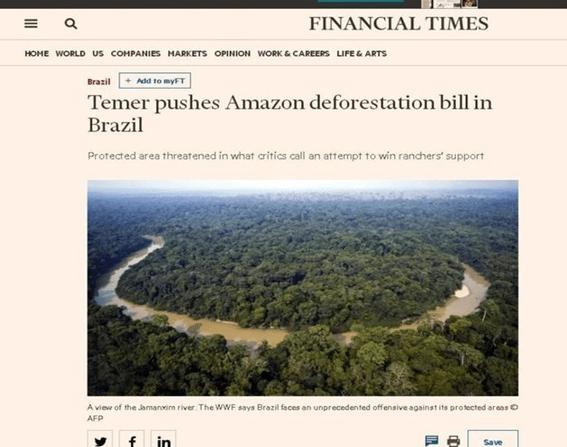O meio ambiente na mira do Governo brasileiro