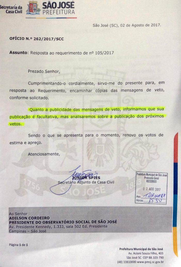 """Governo Municipal de São José diz que transparência e publicidade de ato oficial é """"facultativa"""""""