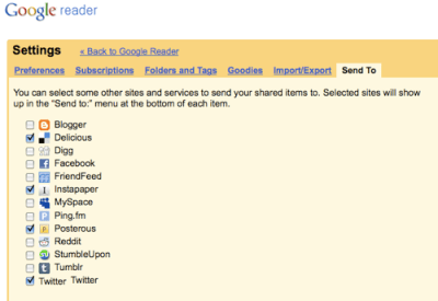 google reader send to Comment utiliser Google Reader comme outil de bookmarking social et bloc notes
