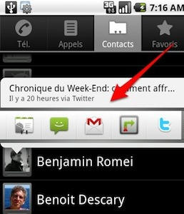 android twitter contacts Twitter lance une application Android