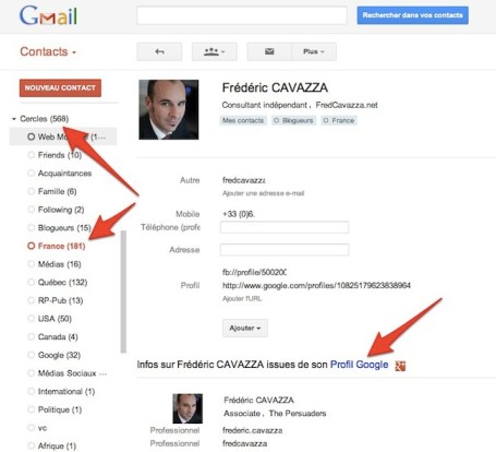 google contacts goole plus Les profils de Google+ intgrs  lapplication Contacts de Gmail