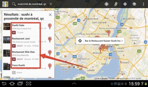 google maps android zagat Google+ Local: le guide des commerces de proximit de Google