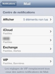 iphone ipad reglages notifications mail iPhone   iPad ios6 : comment personnaliser les notifications de vos différents comptes mail