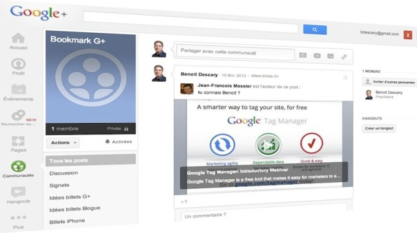 utiliser communautes google plus bookmarks descary1 Google+ : utilisez une communaut prive comme systme de bookmarks