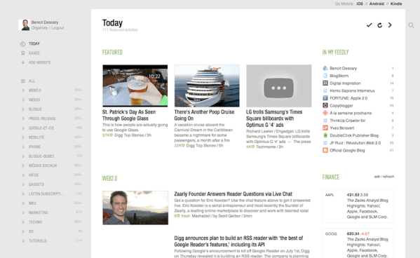 rfeedly descary 5 alternatives  Google Reader