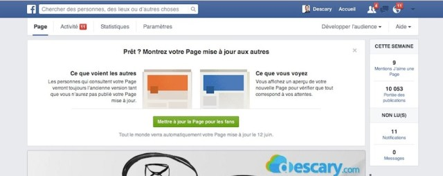 mettre a jour page facebook