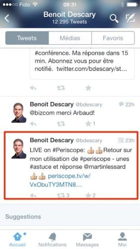 periscope tweet titre de votre diffusion