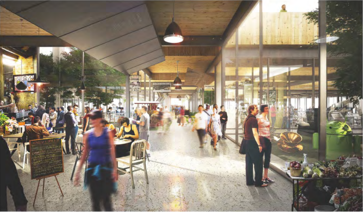 Google plans to make it's headquarters easily accessible to the public, featuring cafes and stores on the first floor. Image via Google