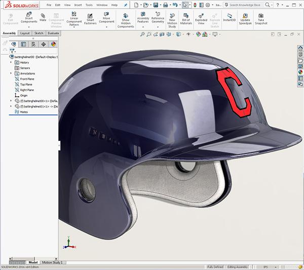 Cleveland Indians Batting helmet created w/ SOLIDWORKS 2016
