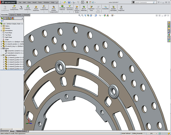 Suzuki brake rotors created by participants while learning to design with Solidworks training class