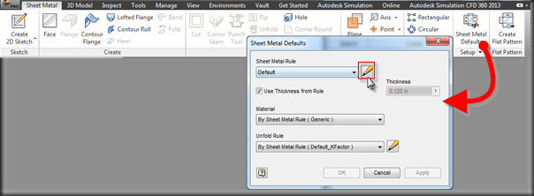Autodesk Inventor Sheet Metal Defaults and Rules