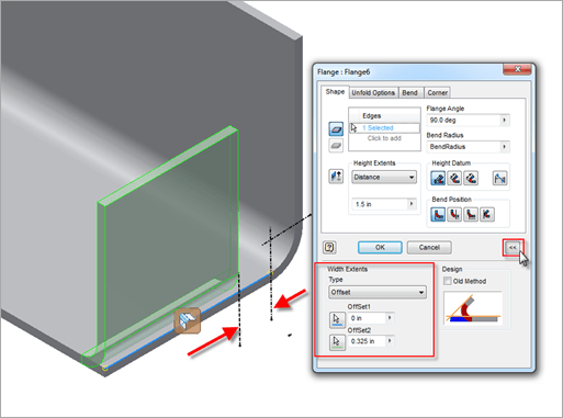 Autodesk Inventor 2013 Sheet Metal Flange Width