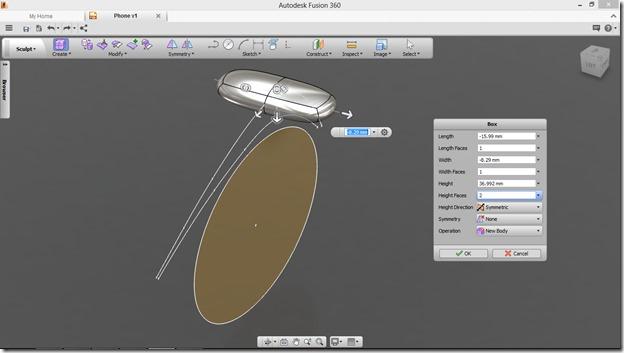 Autodesk Fusion 360  box placement