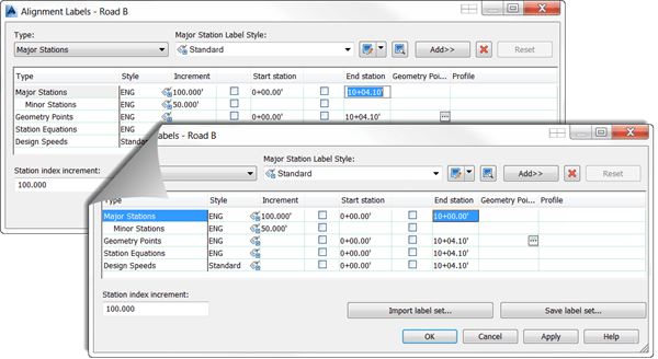 Autodesk AutoCAD Civil 3D Station Label Dialog