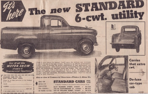 Covers a Standard 8 Ute that was sold in Australia in 1955.