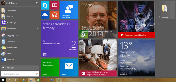 Windows 10 New Old Start Menu