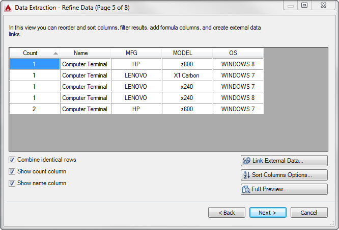 AutoCAD Data Extraction Wizard Page 5