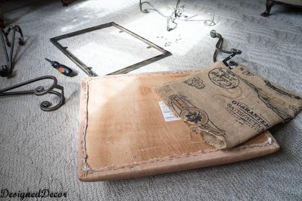 taking apart a metal bench