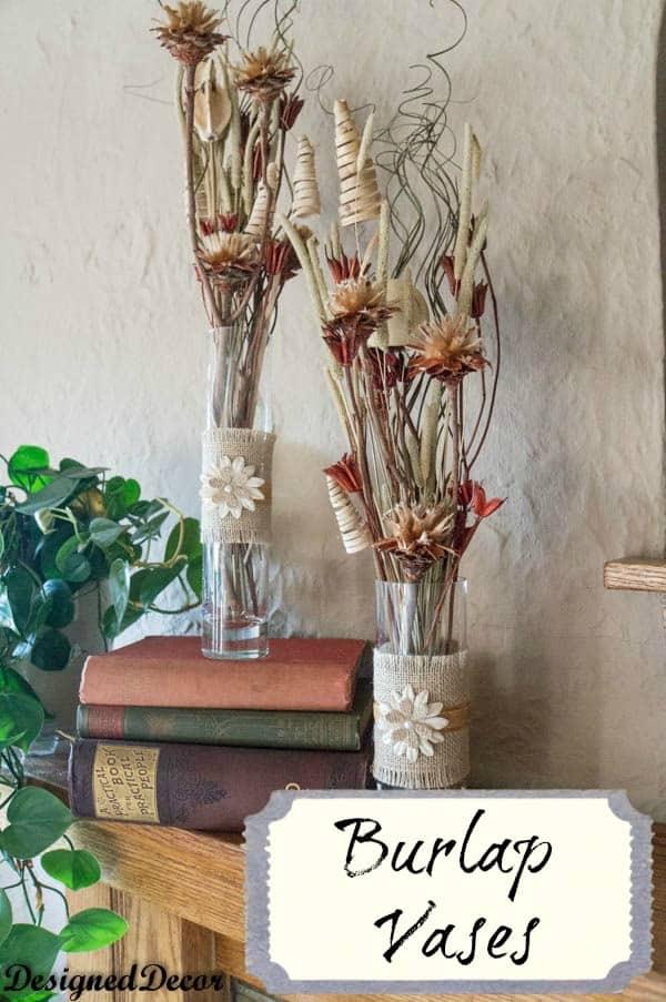 burlap vases designed decor. Black Bedroom Furniture Sets. Home Design Ideas