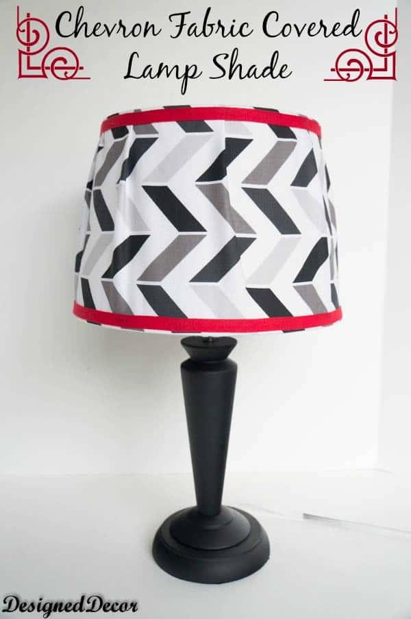 Chevron fabric covered lamp shade designed decor for Chevron shelf floor lamp
