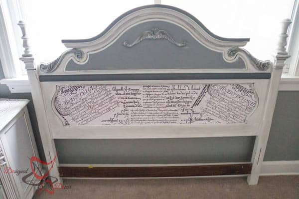 Guest Bedroom Furniture- French Decoupage-Headboard Makeover