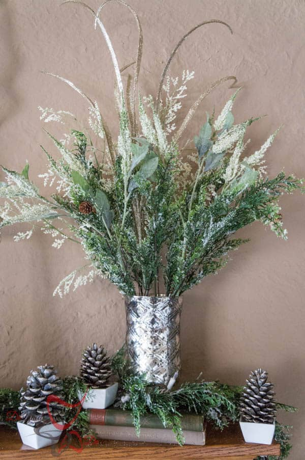 Christmas Mantel 2014-Holiday Floral arrangements