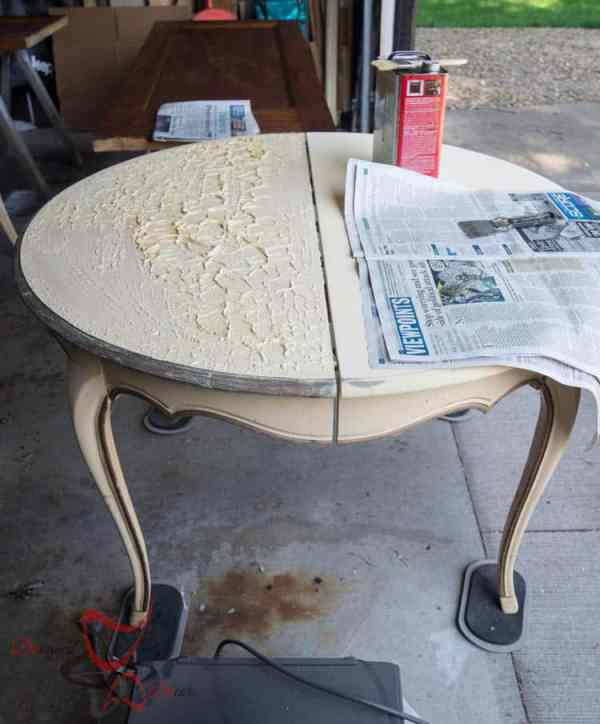 refinishing a factory painted table- How to strip painted furniture